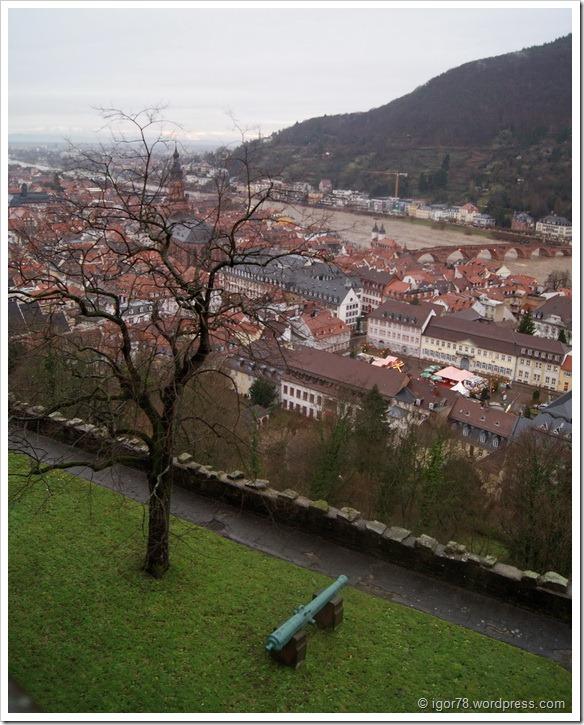 Старый город со смотровой площадки замка Гейдельберга (Heidelberg)